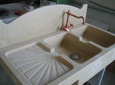 Base a giorno con lavello in marmo Perla Beige dei Balcani ...