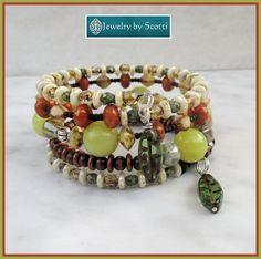Brown Green Gemstone Glass Bracelet, Multistrand Wrap Bracelet, Czech Glass Jewelry, Chunky Woodland Bracelet, Beaded Wood Stone Bracelet
