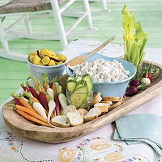 Easter Appetizers | Shrimp-and-Blue Cheese Spread—Serve this rich-and-creamy dip with French bread baguette slices, pickled Jerusalem artichokes, and crunchy baby vegetables like carrots, celery, cucumber slices, and radishes. | SouthernLiving.com