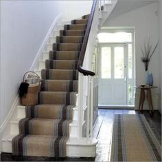 looks similar to my staircase...would like to put a runner like this on steps. Floor Runners, Stair Runners, Sisal Stair Runner, Natural Flooring, Carpet Stairs, Hallway Carpet, Ideal Home, Hallway Runner, Staircase Runner