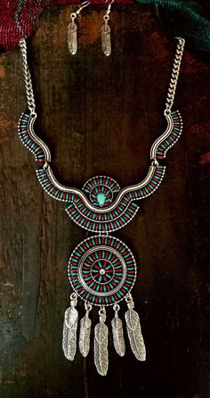 COWGIRL Bling DREAM CATCHER Turquoise Tribal Red Western SILVER TONE NECKLACE #Unbranded #necklace