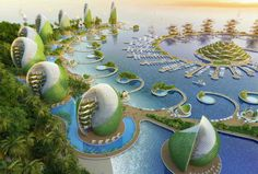 Visionary eco-resort design for the Philippines features rotating seashell towers Nautilus Eco-Resort, Vincent Callebaut, eco resort, eco travel, tropical eco Architecture Design, Green Architecture, Concept Architecture, Futuristic Architecture, Sustainable Architecture, Sustainable Design, Amazing Architecture, Landscape Architecture, Sustainable Energy