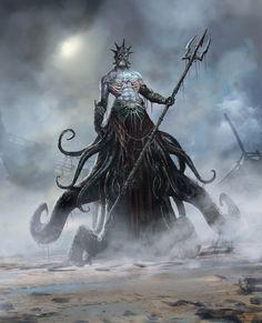Mythic Battles: Pantheon by Loïc Muzy Dark Fantasy Art, Fantasy Monster, Monster Art, Fantasy Creatures, Mythical Creatures, Fantasy Character Design, Character Art, Dnd Monsters, Mermaids And Mermen