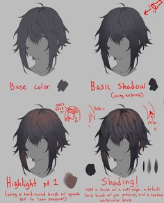 Digital Painting Tutorials, Digital Art Tutorial, Art Tutorials, Manga Drawing Tutorials, Drawing Techniques, Drawing Hair Tutorial, Drawing Tips, Drawing Reference Poses, Hair Reference