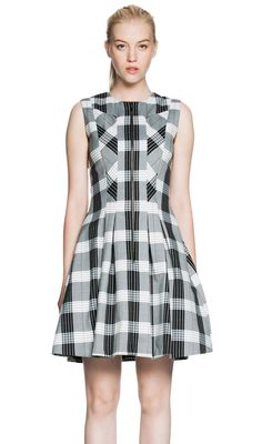 Cue Check Zip-Front Dress