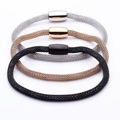 Mesh bracelet in silver, rose gold or black by Torini | via hardtofind.
