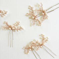 { Mohini } Rose Bridal Hair Pins https://www.etsy.com/listing/463894618/mohini-rose-bridal-hair-pin-rose-gold