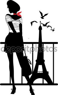 Ретро силуэт женщины — стоковая иллюстрация #63374457
