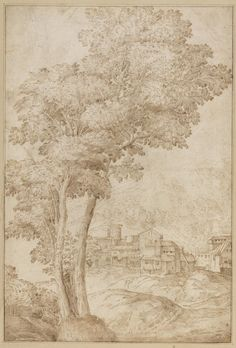 Domenico Campagnola Landscape with copse and village ca. 1520 drawing Teylers Museum, Haarlem Giulio Romano Allegory of the Rege. Landscape Drawings, Trees, Museum, Painting, Art, Art Background, Tree Structure, Painting Art, Kunst