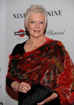 "Judi Dench Photos - Dame Judi Dench attends the New York premiere of ""NINE"" sponsored by Chopard at the Ziegfeld Theatre on December 2009 in New York City. - Chopard Sponsors New York Premiere of ""NINE"" - Arrivals 60 Fashion, Over 50 Womens Fashion, Fashion Over, Judy Dench Hair, Judi Dench, Mature Women Fashion, Advanced Style, Ageless Beauty, British Actresses"