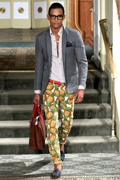 Michael Bastian Spring 2014. But really, these pineapple pants >>>>>