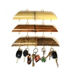 Bamboo wooden key holder. Shabby chic Key hanger. by BambooStyle