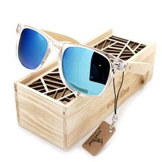 dd928040e3bc Men s BOBO BIRD Blue Color Lense Sunglasses with Wood Bamboo Frame  Polarized With UV 400 Protection