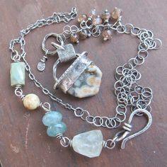 Gemstone Necklace Ocean Jasper Sterling Silver by artdi on Etsy, $260.00