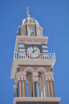 ˚The Clock Tower - Fira, Santorini Unusual Clocks, Cool Clocks, Somewhere In Time, Vintage Architecture, Secret Rooms, Grandfather Clock, Large Clock, Abandoned Mansions, Beautiful Places To Visit