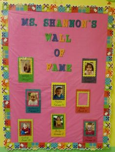 Wall of fame Bulletin board in my infant/young toddler class room at work. Birthday, name, and pictures. Helpful if I'm out and my sub needs help with who is who, lol. Love my babies!
