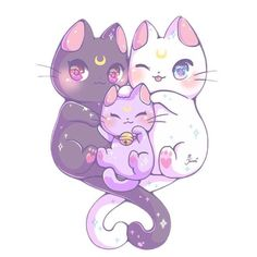 SUPER KAWAII!! X3 Kawaii Moon Cats by MJenni (and yessss I realised there are two of this pins xp I don't mind lol xD)