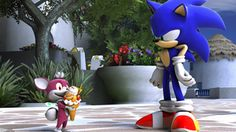 "Sonic the Hedgehog and Chip (Sonic Unleashed) ""This chip-whatever stuff is great!"" ""If you say so..."""
