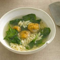 Chicken Meatball-and-Orzo Soup   Melissa Rubel Jacobson cleverly uses chicken sausage here: removing the casings, shaping the meat into balls, browning them and simmering them in chicken broth. If you have leftover cooked rice on hand, feel free to substitute it for the orzo.