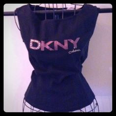 Black DKNY Tank Bedazzled with brown sparkly lettering. I am thinking of keeping it for myself' So adorable! DKNY Tops Tank Tops