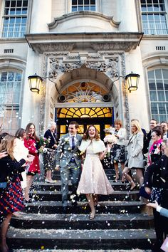 Winter wedding at Chelsea town hall, London. Bride wore a pink vintage dress and fur stole. Photo by Lydia Stamps Photography City Hall Wedding, London Wedding, London Bride, Wedding Dress Shopping, Wedding Dresses, Courthouse Wedding Dress, Wedding Pics, Wedding Ideas, Wedding Bells