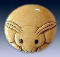 18th-C. Ivory Manju Netsuke Button Form, Full Moon Rabbit: $16,000