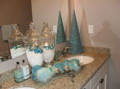 A little bit of Christmas in the bathroom. These colors would be perfect as they would still match! :)