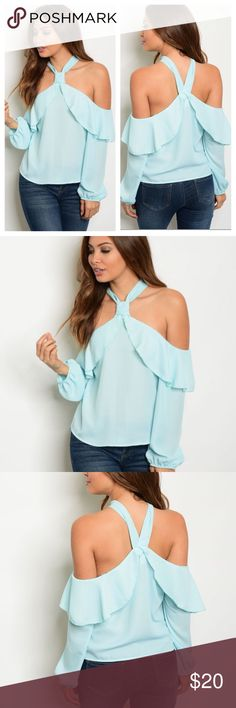 Women's Blue Halter Off The Shoulder Blouse S M L This is a beautiful sky blue light weight blouse.  It has a ruffle style and off the shoulder long sleeves.   Material: 100% Polyester Size: Available in S M L (True to size) MADE IN THE USA.   Orders will be shipped out next day after purchase.  Shipping usually takes 3-5 business days to arrive. Tops Blouses