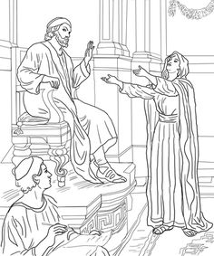 Parable of the Persistent Widow coloring page from Jesus' parables category. Select from 22052 printable crafts of cartoons, nature, animals, Bible and many more.