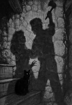 "Scene from short story ""The Black Cat"" by Edgar Allan Poe."