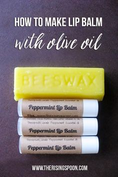 Homemade lip balm made with olive oil, beeswax, cocoa butter, vitamin E oil, honey and peppermint es Homemade Lip Balm, Diy Lip Balm, Homemade Lipstick, Homemade Butter, Diy Cosmetic, Lip Balm Recipes, Homemade Beauty Products, Beauty Recipe, Cocoa Butter