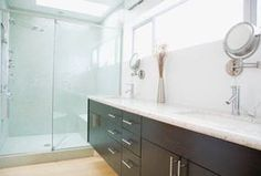 Master Bathroom Ideas: Master Bathroom Ideas: Runway-Long Countertops, Skylight, and Double Sink