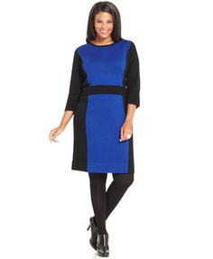 AGB Plus Size Colorblock Sweater Dress