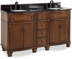 Hardware Resources double Walnut vanity with Antique Brushed Satin Brass hardware, bead board doors, curved front, and preassembled Black Granite top and 2 oval bowls. Open Cabinets, Storage Cabinets, Large Cabinets, Cabinet Boxes, Vanity Cabinet, Granite Tops, Black Granite, Plumbing Accessories, Furniture Vanity