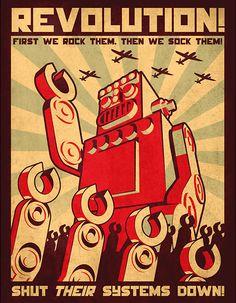 Robot Revolution Art Print By Droidloot Design By Humans Robots Vintage, Retro Robot, Retro Kunst, Retro Art, Poster Retro, Vintage Posters, Photographie Street Art, Robot Revolution, Robot Illustration