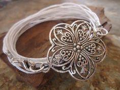 SNOW WHITE wrap bracelet with mandala flower on Etsy, $8.90