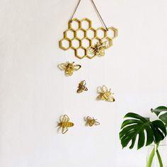 Bumble Bee Nursery, Wood Wedding Signs, Wood Signs, Wedding Decor, Bee Honeycomb, Bee Theme, Hanging Wall Art, Wall Hangings, Mellow Yellow