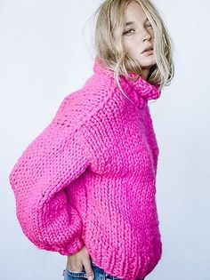 Her Turtleneck | Get cozy in this chunky turtleneck sweater hand knit in the USA. Drapey and effortless shape.