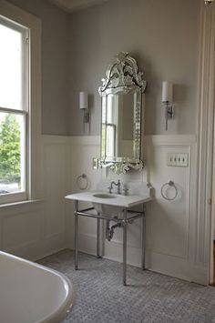 bathrooms - wall sconce venetian mirror  studiobfg   Love the Venetian Mirror this is my 1/2 bath inspiration pic