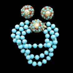 Turquoise and Ruby Red Glass Beaded Bracelet and Earring Set by DeNicola from Vintage Jewelry Girl! #vintagejewelry #vintagejewellery #denicola