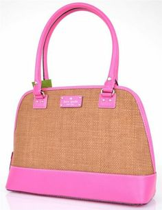 NEW KATE SPADE WELLESLEY RACHELLE STRAW & LEATHER PINK DOME PURSE BAG
