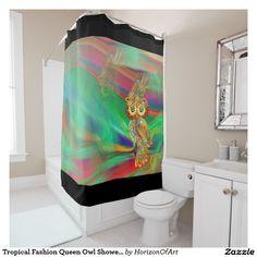 Tropical Fashion Queen Owl Shower Curtain