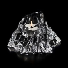 Volcano Clear Crystal Votive Candle Holder by Mats Jonasson Votive Candle Holders, Votive Candles, Candels, Heart And Mind, Museum Of Fine Arts, Volcano, Clear Crystal, Glass Art, Sculpture