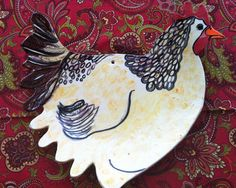 Hand Painted Chicken Serving Plate or Wall Hanging