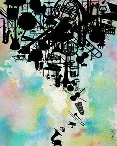 Pastel Watercolor Music Art, Painting, Aqua, Blue, Pink, Black, Yellow, Pastels, Music, Instruments, Band, Rock, Jazz, Soul, Pop, Blues via Etsy
