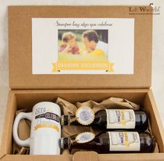 Ideas regalos Día del Padre Craft Gifts, Diy Gifts, Beer Basket, Dad Day, Fathers Day Crafts, Party In A Box, Happy B Day, Cute Mugs, Surprise Gifts