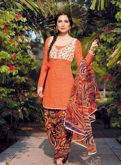 Orange Patiala Salwar Kameez For Casual Wear . Buy at - http://www.gravity-fashion.com/orange-patiala-salwar-kameez-for-casual-wear.html
