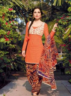 Orange Patiala Salwar Kameez For Casual Wear . Buy at - http://www.gravity-fashion.com/orange-patiala-salwar-kameez-for-casual-wear.html