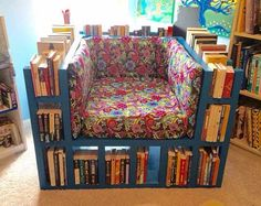 How To Build A Bookshelf Chair  Wouldn't this work well!!! Could adapt for some yarn bins!:)