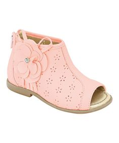 Take a look at this Pampili Pink Peep-Toe Boot by European Trends: Kids' Shoes on #zulily today!  To cute!